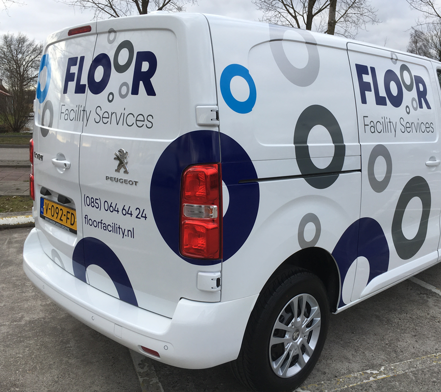 floor facility services bestelbus belettering